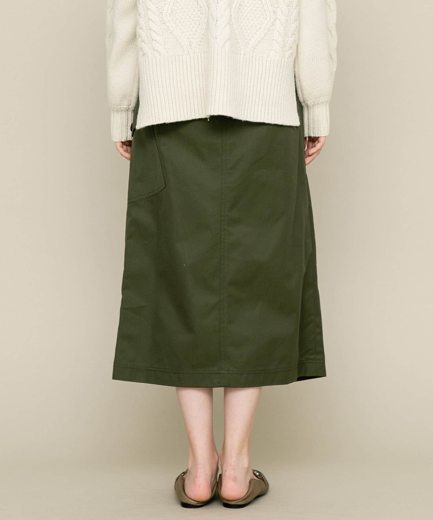 COTTON FRONT TUCKED WRAP SKIRT CINOH