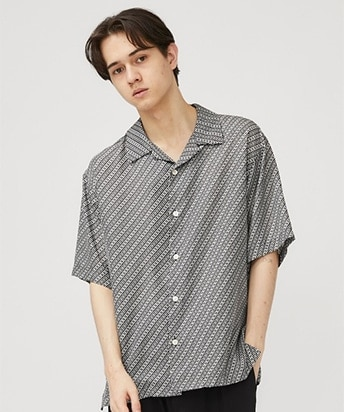 PRINT OPEN COLLAR SHIRT