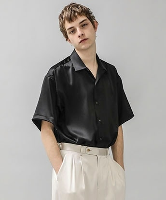 COVER CLOTH OPEN COLLAR S/S SHIRT