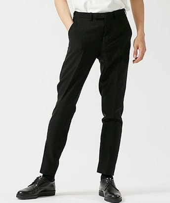 WOOL GABARDINE SLIM SLACKS