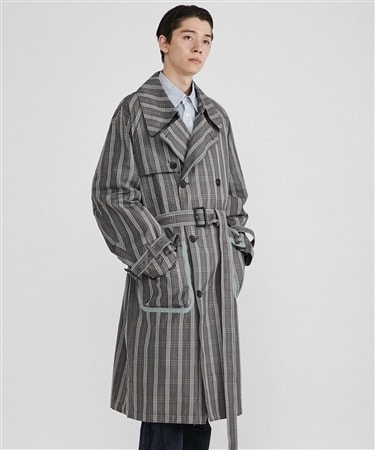 C/N PLAID  TRENCH COAT