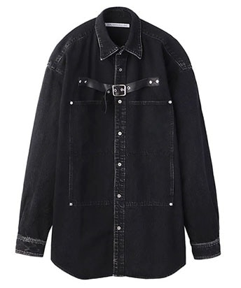 FRONT SIDE BELTED DENIM SHIRT