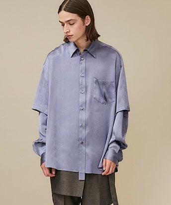 SATIN DOUBLE SLEEVE SHIRT