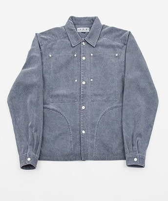 WASHED COTTON TWILL WORK SHIRT