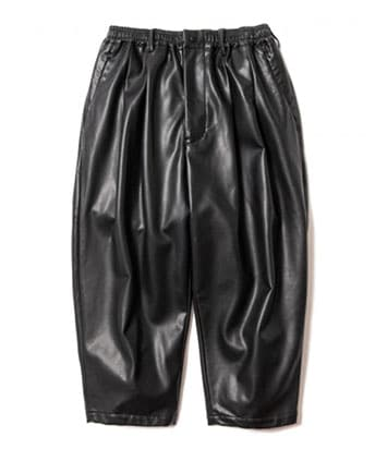 LEATHER WIDE CROPPED TROUSER