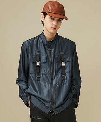 chambray military blouson