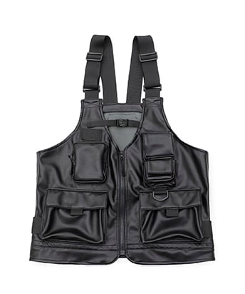 STUDIOUS別注 SYNTHETIC LEATHER BAG VEST