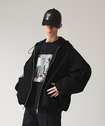 STUDIOUS別注 SHINNY DRAWSTRING BOMBER JACKET