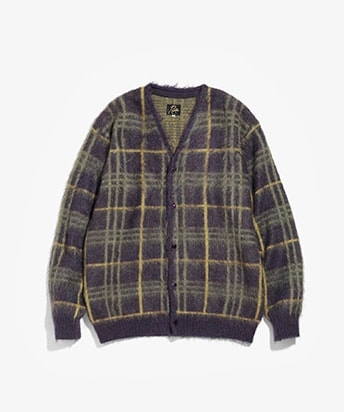 MOHAIR CARDIGAN PLAID