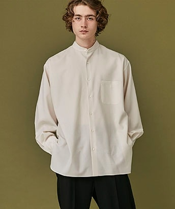 STUDIOUS 別注 COMFORT FIT BAND COLLAR SHIRT