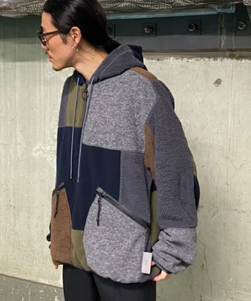 F-LAGSTUFF×Name. PATCHWORK FLEECE HALF ZIP PULLOVER