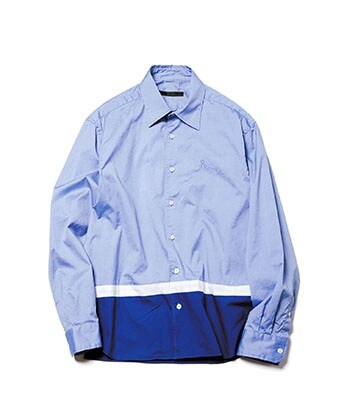 HEM PANELED REGULAR COLLAR SHIRT