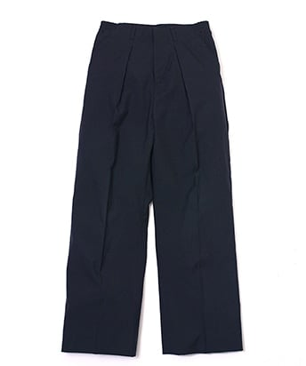 PIN CHECK TROPICAL WOOL TUCKED WIDE TROUSERS