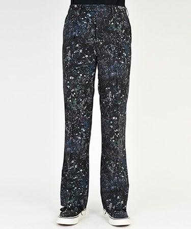 FLOWER PRINT POLY FLARE PANTS