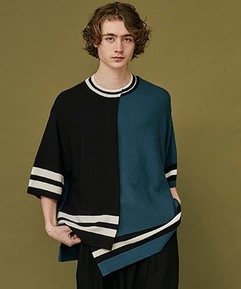 FRONT LAYERED SHORT SLEEVE KNIT