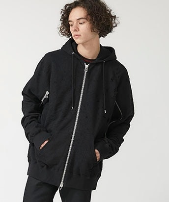 DAMAGED SWEAT ZIPPED HOODIE