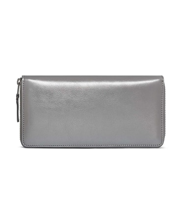 GOLD AND SILVER ZIP LONG WALLET