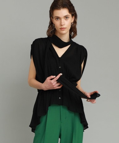 【30%OFF】COTTON CREPE BLOUSE WITH BOWTIE