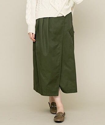【30%OFF】COTTON FRONT TUCKED WRAP SKIRT