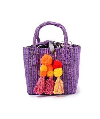 Pompon basket bag